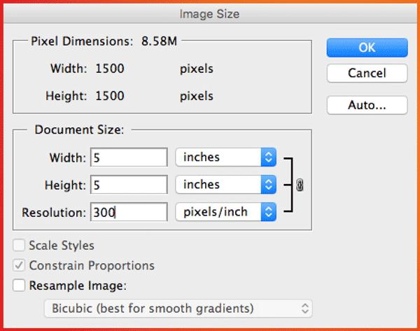 Photoshop Image Size - change resolution