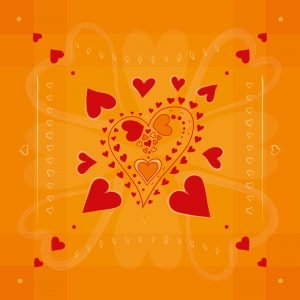 Red hearts pattern on golden background
