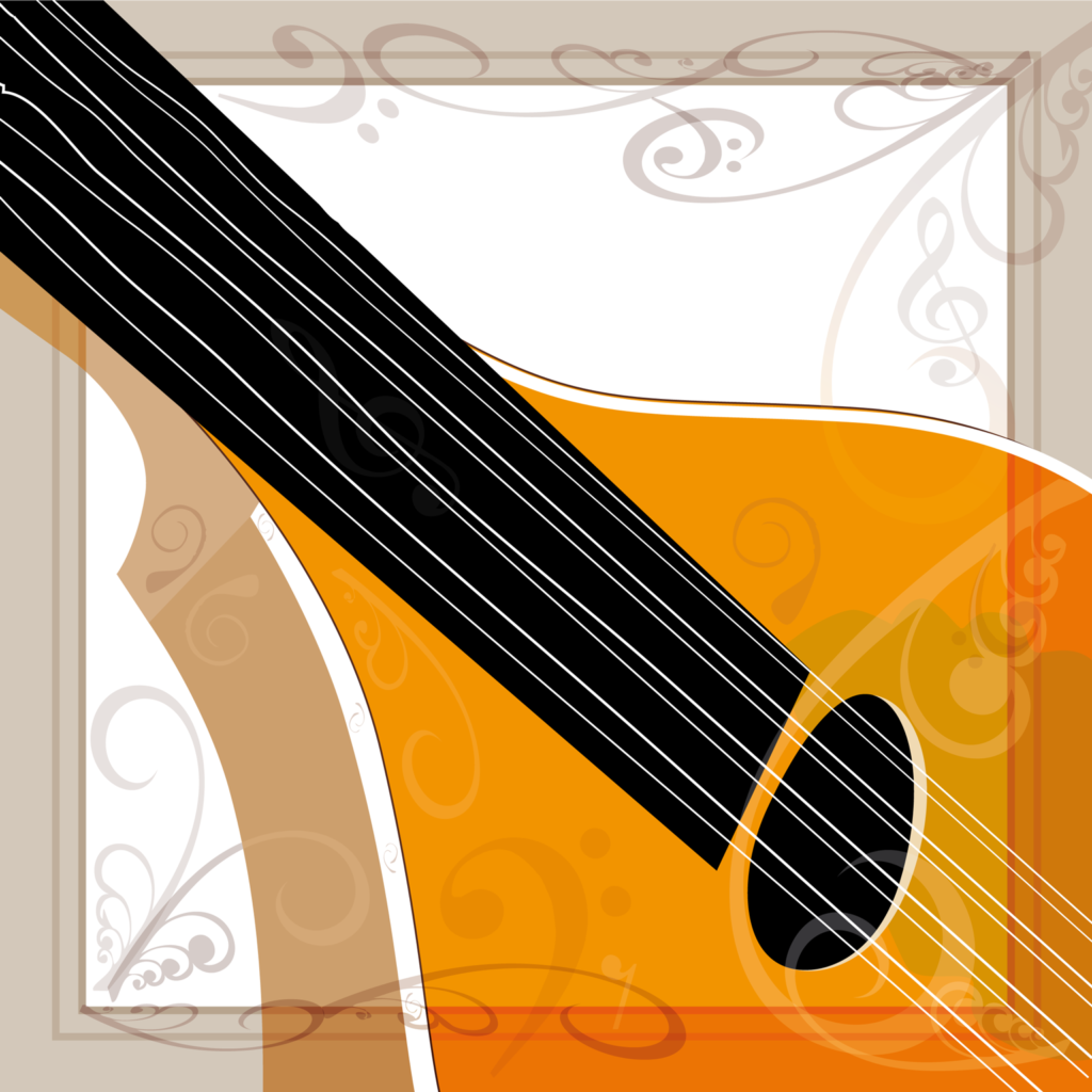 Bouzouki musical instrument illustration - Adobe Illustrator vector art graphic design
